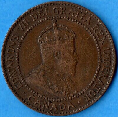 Canada 1910 1 Cent One Large Cent Coin - F/VF