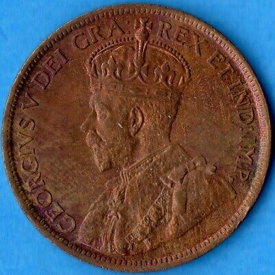 Canada 1916 1 Cent One Large Cent Coin - Uncirculated Pretty Toning