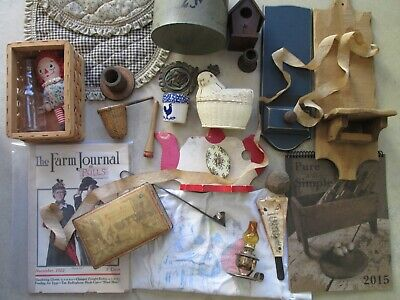 Lot Primitives vintage antiques mixed variety wood metal fabric glass paper