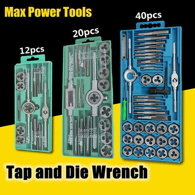 AU_ 12/20/40Pcs Tap and Die Set Metric Wrench Hardware Extractor Remover Tool  A