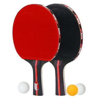 2pcs Table Tennis Ping Pong Racket Paddles with 3 Balls Training Exercise Sport