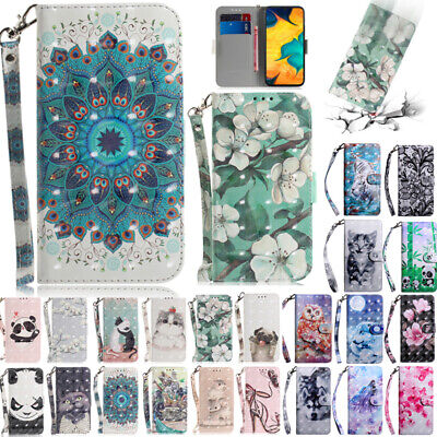 For Samsung A20 A30 A50 M30 Patterned Magnetic Flip Leather Wallet Case Cover
