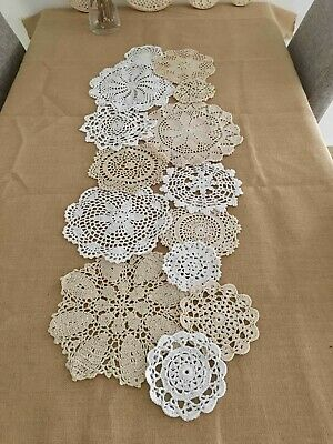 HOT ~ 14 pcs assorted round crocheted doilies set for doily runner DIY