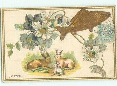 foreign c1910 Postcard BUNNY RABBITS WITH FISH AND FLOWERS AC3579