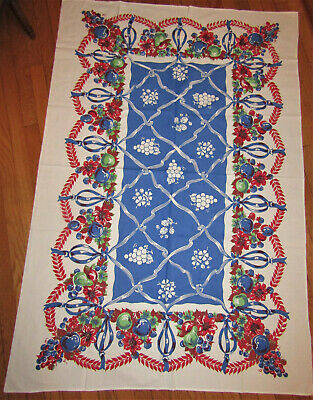 """VTG FRUIT & FLORAL TABLECLOTH Grapes Pears Apples Red Green Blue 42W X 62""""L Nice"""