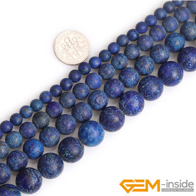 Natural Gemstone Blue Lapis Lazuli Forested Matt Round Loose Beads for Jewelry
