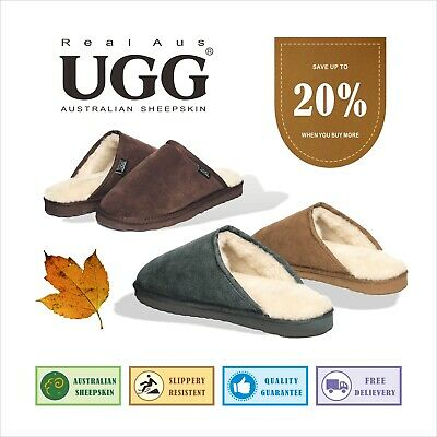 UGG Real Aus Mens Slippers Chestnut Brown Stone Grey Chocolate 5 6 7 8 9 10
