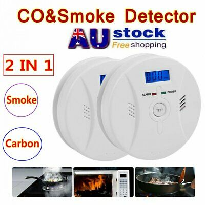 CO & Smoke Detector 2 in 1 Carbon Monoxide and Smoke Alarm Battery Operate AU