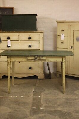 Antique french painted pine table with drawer.