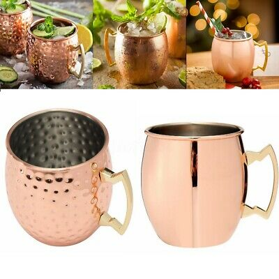 1~4 Pcs 18oz Moscow Mule Mug Drinking Cup Glossy Hammered Copper Brass Bar Gift