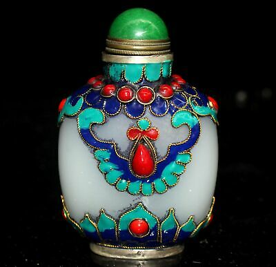 Collect China Antique Cloisonne Inlay Coloured Glaze Carve Delicate Snuff Bottle