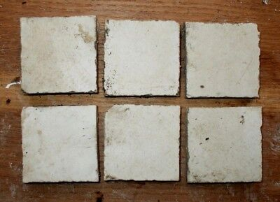 "45x Antique Victorian Geometric Hall Floor Tiles White 'Marble' finish 2""x2"""