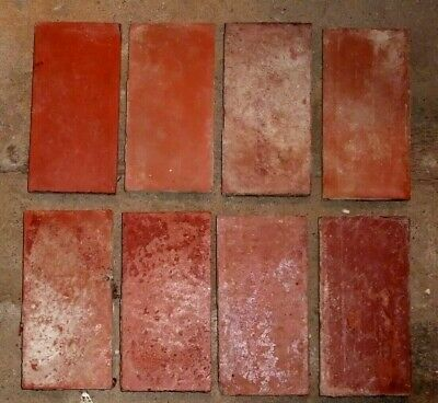 """Antique Victorian Geometric Hall Floor Terracotta Tile 'Red' 6""""x3"""" 1 of 115"""