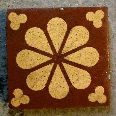 "Antique Victorian Gothic Church Encaustic Floor Border Motif Tile 3""x3"" 1 of 28"