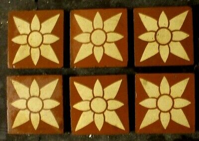 "10x Antique Victorian Gothic Church Encaustic Floor Border Motif Tiles 2""x2"""