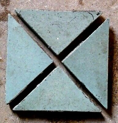 """Antique Victorian Geometric Floor Tile Blue Green TRIANGLE 2""""x2""""x2.8""""  1of195"""