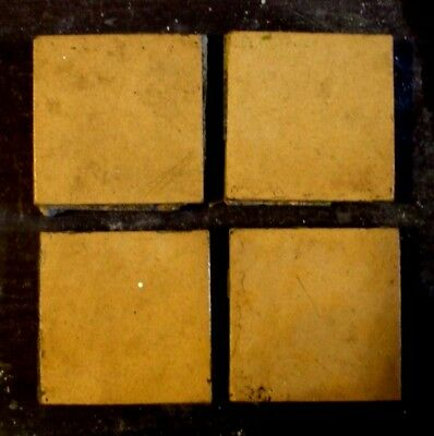 "Antique Victorian Geometric Hall Floor Terracotta Tile Buff 2""x2""  1 of 458"