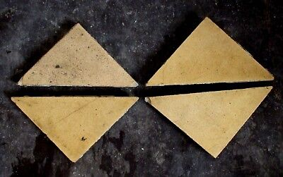 "Antique Victorian Minton Hall Floor Tile Buff TRIANGLE 4""x3""x3"" 1 of 424"
