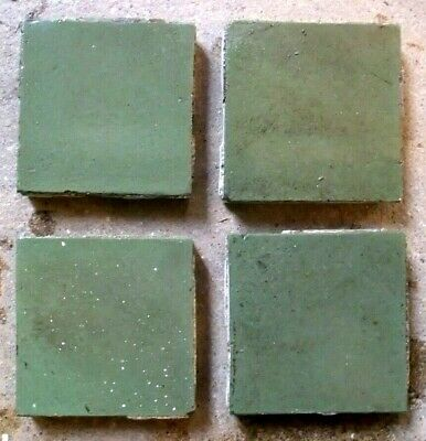 "Antique Victorian Geometric Hall Floor Tile Green 2""x2"" 1 of 100 RARE COLOUR!"
