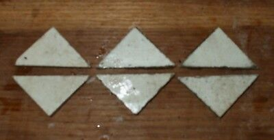 Antique Victorian Geometric Hall Floor Tile White Marble Triangle 2x2x3 1 of 60