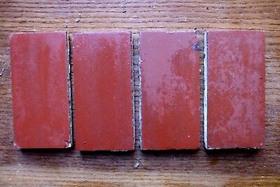 """Antique Victorian Geometric Hall Floor Tile Terracotta Red 4.5""""x2.25"""" 1 of 408"""