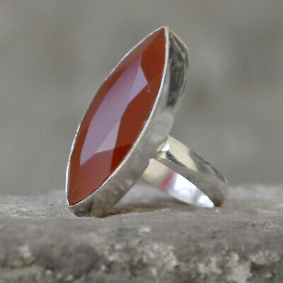 Marquise Faceted Red Onyx Gemstone 925 Sterling Silver Artisan Ring Jewelry