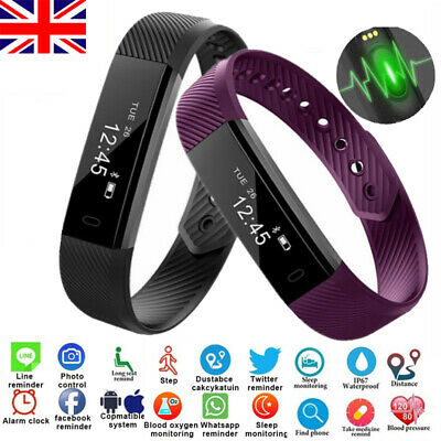 Bluetooth Fitness Activity Sports Tracker Fit Smart Watch Bit Iphone Android Uk