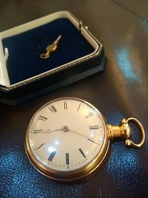 18 ct GOLD LITHERLAND WILLIAM IV POCKET WATCH 1834 RACK LEVER PAIRED CASE