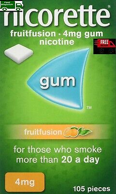 NEW Nicorette Fruitfusion Chewing Gum 4mg 105 Pieces Stop Smoking LONG EXPIRY