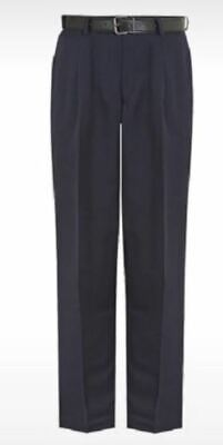 David Luke Eco Senior Boys Single Pleated Regular Fit School Navy Trousers 26R