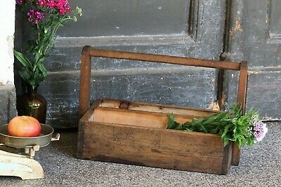 Antique Wooden Carpenters Tool Box Wood Tool Caddy with Handle Wood Tool Carrier