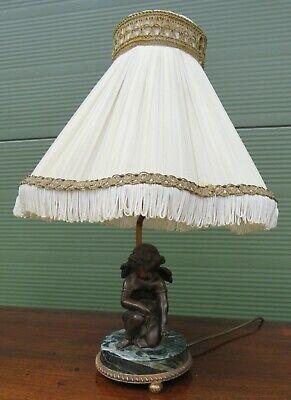 Vintage Table Lamp with Cast Bronze Cherub on Marble Base with Original Shade