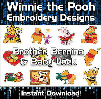 78 Winnie the Pooh Brother Machine Embroidery Designs files cards PES - Download