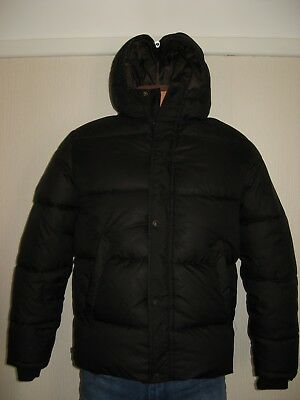 Hardly Worn Boys Black Zara Puffa Quilted Fleece Lined Hooded Jacket Age 10-12
