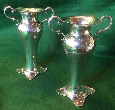 136 Grams 1926 Solid Sterling Silver Vases Latin Inscription With Doves
