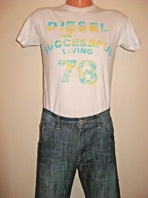 Worn Once Boys White Diesel Short Sleeve T-Shirt & Blue Next Skinny Jeans 14-15