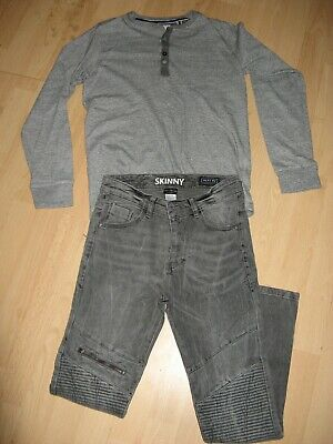 Worn Once Boys Next Bundle Long Sleeve Grandad Top Blue Stretch Jean Age 12-13