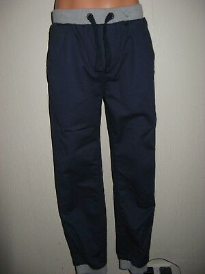 New Boys Dark Blue Navy Pull On Ribbed Waist Leg Jogger Fashion Jeans Age 13-14