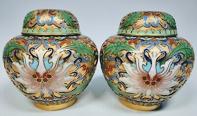 Pair of Antique 1920s Chinese Cloisonné Open Work Enamel on Bronze Ginger Jar