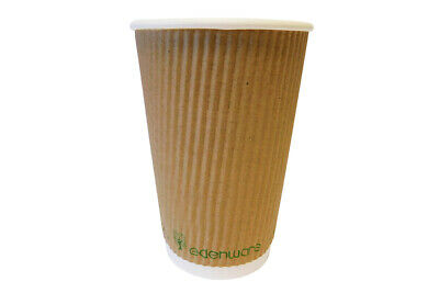 12oz Biodegradable & Compostable Kraft Ripple Cups & Lids -Eco Friendly EDENWARE