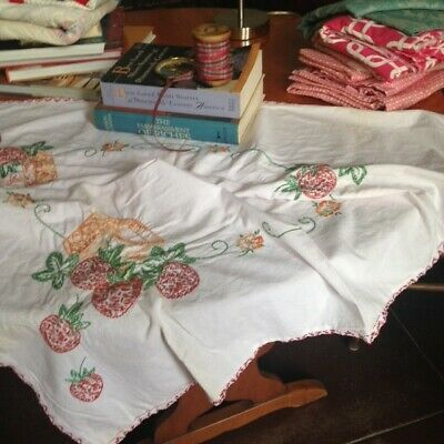 Vintage table topper/cloth cotton hand embroidered with hand crocheted edges