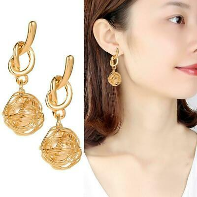 Fashion Charm Women Gold Plated Round Pearl Dangle Drop Earrings Stud Gifts X1B5