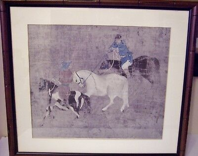 EXQUISITE FRAMED ANTIQUE 19c CHINESE PRINT HORSE TIMING