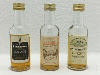 ! 3 Whisky Linkwood Dalwhinnie Dalchully 15 Alt Mini Miniaturflaschen Miniaturen