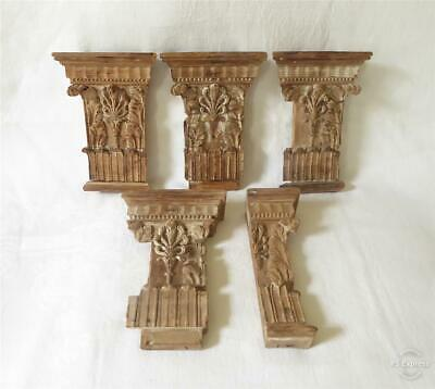 Five Antique 18Th Century Pine Wooden Carvings