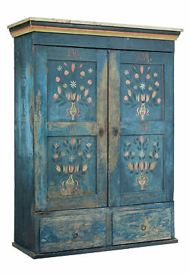 19Th Century Painted Swedish Oak Wardrobe Cupboard