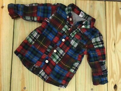 Baby Gap Boys Lined Flannel Shirt~Plaid~Button Down~Long Sleeve~Sz 12-24 Months