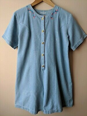 90s Vintage Denim Playsuit 12-14 14 Embroidered Party Festival Casual Hipster