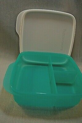 TUPPERWARE-New 7503 LUNCH IT-Divided Lunch Dish in Green-White Seal/Lid