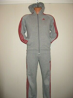 Hardly Worn Boys Pale Grey Adidas Full Hooded Tracksuit Hoodie Tracky Age 11-12